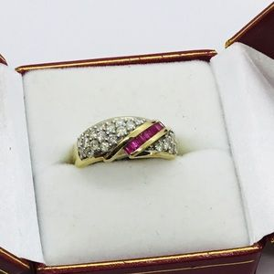 Jewelry - Ladies Diamond and Ruby Ring